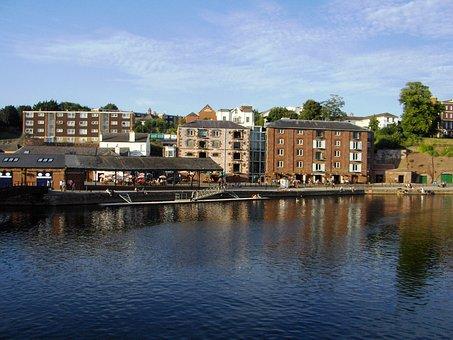 Exeter, Devon, Quay, Riverbank, England, River