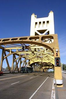 Sacramento, Bridge, River, California