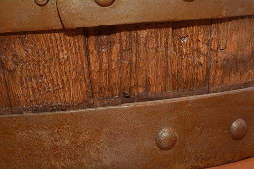Old Wooden Barrel, Wood, Metal, Close