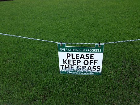 Keep Off, Grass, Sign, Notice, Rules, Warn, Landscape