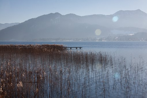 Lake, Mountains, Panorama, Bank, Sky, Water, Blue, Rest