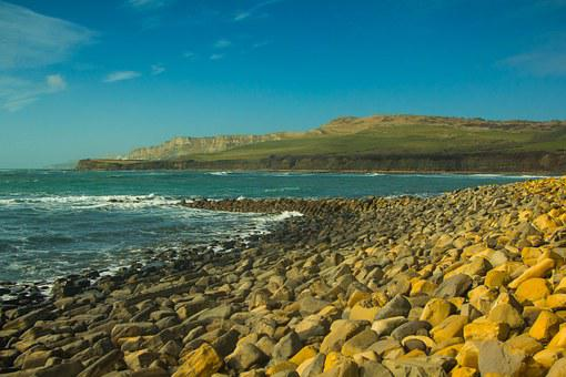Kimmeridge Bay, Sea, Nature, Sea Shore, Stone, Country