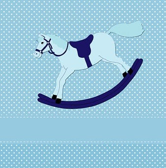 Rocking Horse, Toy, Horse, Rocking, Baby, Cute, Card