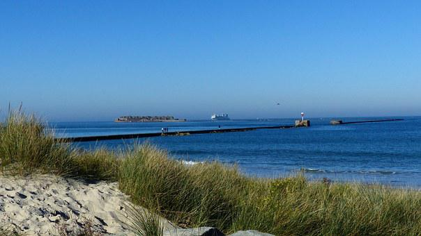 Ferry, Beach, Atlantic, Cherbourg, Sand Beach, Dune