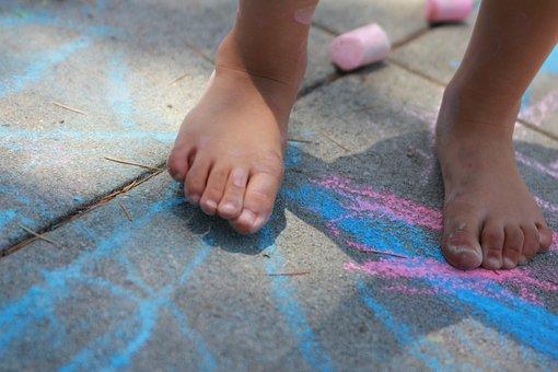 Bare, Feet, Chalk, Sidewalk, Pink, Blue