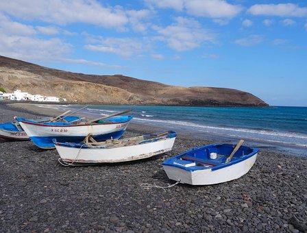 Boats, Fuerteventura, Canary Islands, Sea, Blue, Beach