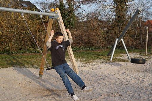 Playground, Swing, Boy, Play, Jump Off, Fun