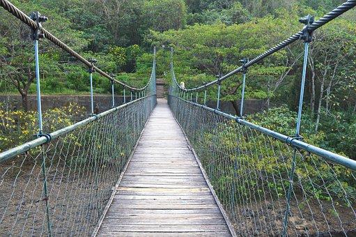 Bridge, Hanging Wooden Bridge, Timber Bridge
