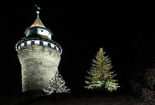 Sinwelturm, Nuremberg, Castle, Illuminated, Night