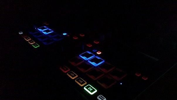 Dj, Controller, Darkness, Night, Button, Lights