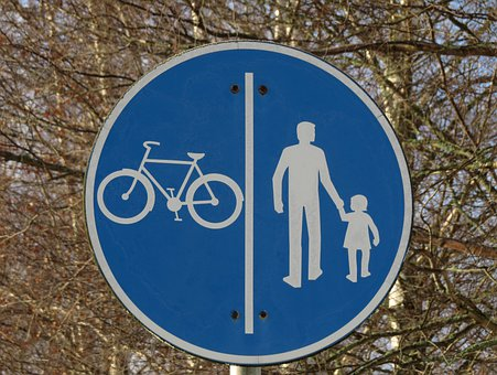 Road Sign, Cycle Path, Walkway, Blue