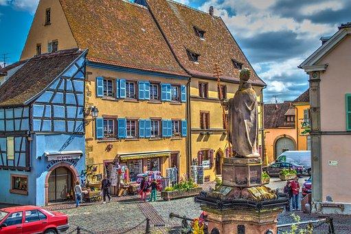 Equisheim, Alsace, France, Historic Center, Church