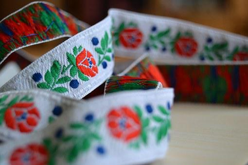 Detail, Ribbon, Slovacko, Flowers, The Tradition Of