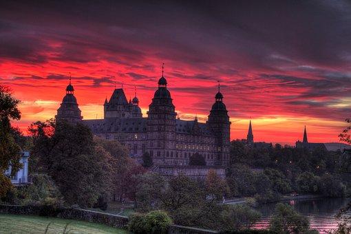 Castle, Aschaffenburg, Hdr, Germany, Mood