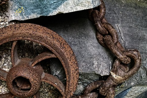 Railroad, Iron Tire, Chain, Rusty, Heritage, Ghost Town