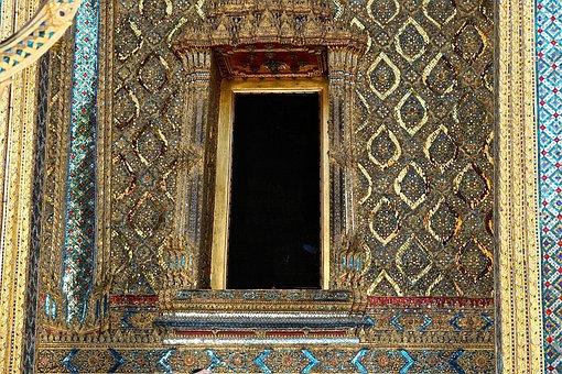 Doorway, Entrance, Gold, Ornate, Temple, Buddha