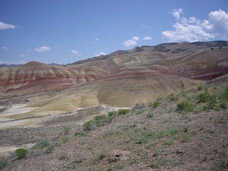 Hill, Desert, Rocks, Landscape, Arid, Dry, Shrubs