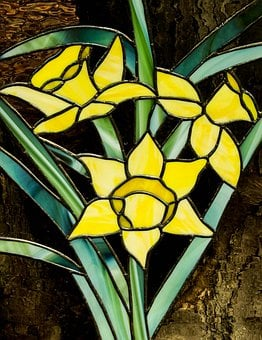 Stained Glass, Window, Yellow, Flowers, Pattern