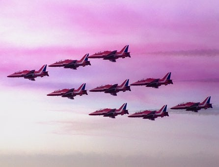 Red Arrows, Planes, Jets, Clacton-on-sea, Air Show, Red