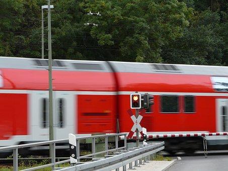 Train, Barrier, Bahnschranke, Road, Wagon, Rail