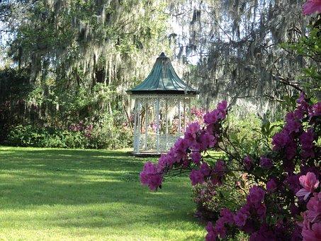 Gazebo, Lawn, Pavilion, Landscaping, Scenic, Garden