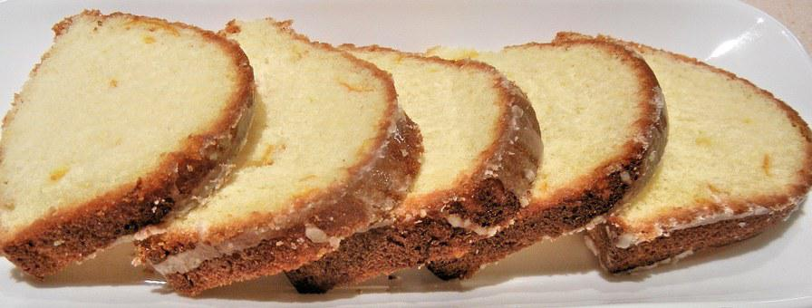 Sliced Orange Cake, Light Icing Sugar, Food