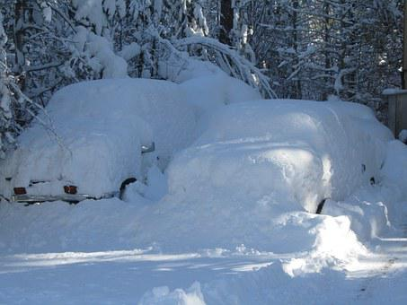 Cars Coverd With Snow, Winter, Snow Drifts