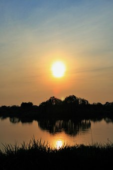 Sunset Over Pond, Pond, Water, Sunset, Sun, Reflection