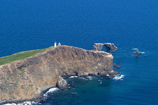 Anacapa Island, Lighthouse, Building, Sea, Ocean, Water