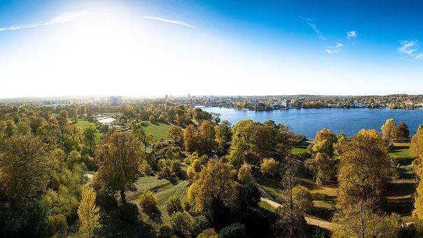 Potsdam, Babelsberg, Park, Flatow, Türm, Autumn, Havel