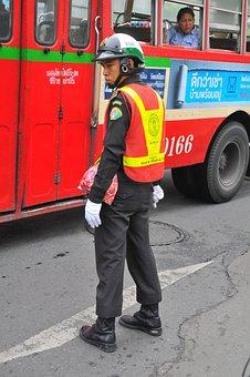 Thailand, Bangkok, Police, Man, People, Traffic, Road