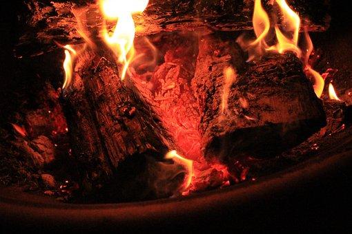 Fire, Bonfire, Fire Pit, Campfire, Light, Red, Burn