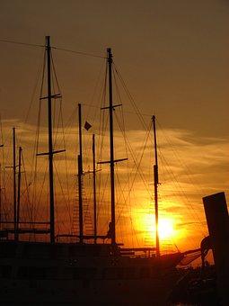 Ship, Boot, Masts, Sailing Vessel, Sail, Mood, Sunset