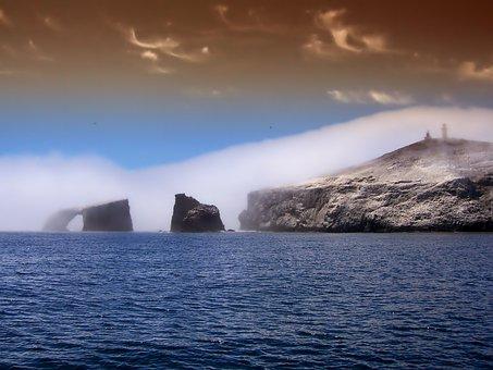 Anacapa Island, California, Arch, Shore, Shoreline, Sea