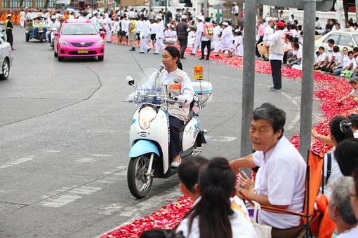 Street, Police, Festival, Thailand, Ceremony