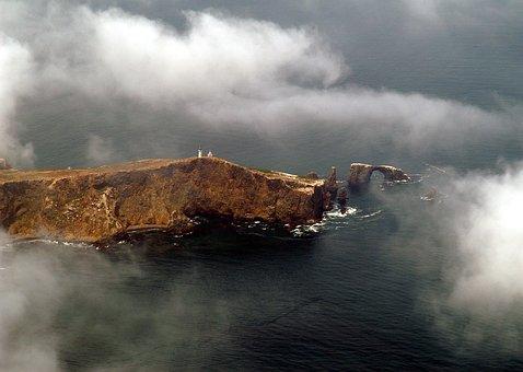 California, Anacapa Island, Landscape, Sky, Clouds