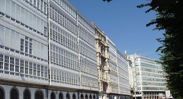 Coruna, Spain, Buildings, Urban, Architecture, Sky