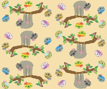 Sloth, Neutral Color, Cute, Cartoon, Tile, Funny