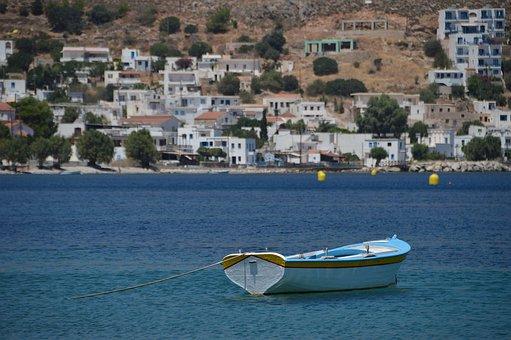 Boat, Harbour, Chalki, Town, Greece, Taverna