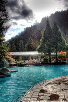 Pool, Spring, Autumn, Hotsprings, Trees, Hotel