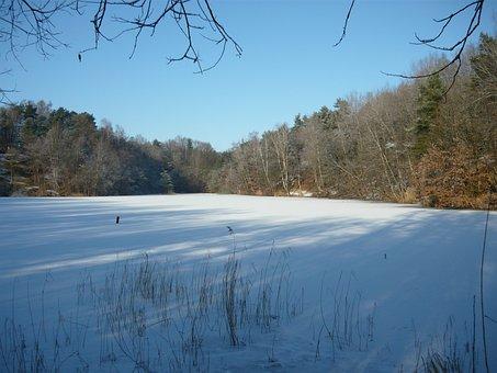 Winter, Landscape, Lake, Ice, Frozen Lake, Idyll