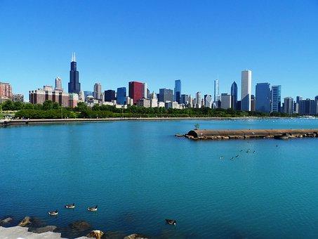 Chicago, Skyline, Skyscraper, Blue, Lake Michigan