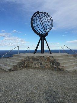 Nordkapp, Sculpture, Norway, Sky, Blue, Sea