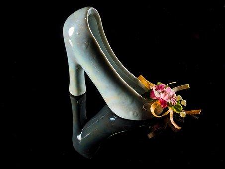 High Heeled Shoe, Frauenschuh, Kid Shoe, Porzelanschuh