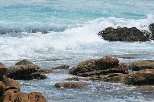 Surf On Rocks, Sea, Ocean, Waves, White, Foam, Rocks