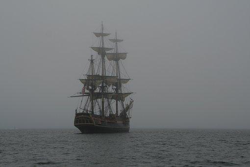 Schooner, 3-mast, Ship, Sea, Mist, Sailing Vessel