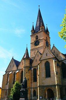 Church, Sibiu, Romania, Transylvania, Building, High