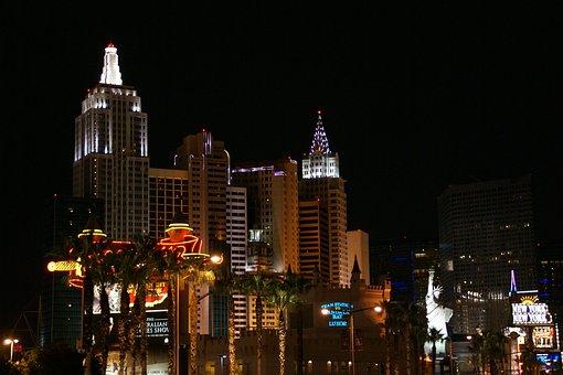 New York Hotel, Las Vegas, Nevada, Usa, Night, Casino