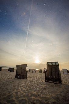 Night, Moon, Sun, Beach Chair, Beach, Baltic Sea