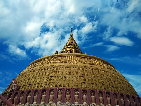 Pagoda, Religion, Burma, Blue, Gold, Dome, Zenith